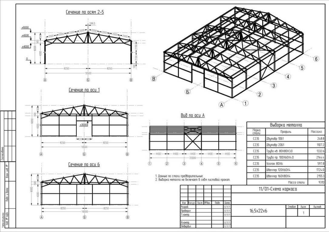 shema karkasa metallokonstrukcii Ангары